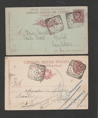 Italy 1891-1901 lot of 2 postal cards with lovely squared circle cancels
