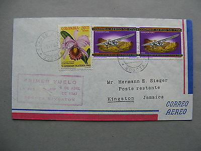 COLOMBIA, cover FFC to Jamaica 1967, Bogota - Kingston, ao Trimotor Ford orchid
