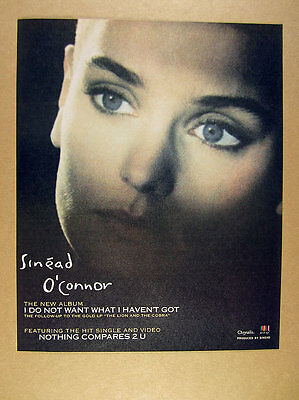 1990 Sinead O'Connor photo I do not want album promo vintage print Ad