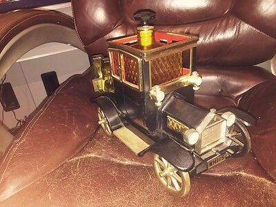 Vintage Antique Car Whiskey Decanter Music Box Shot Glasses