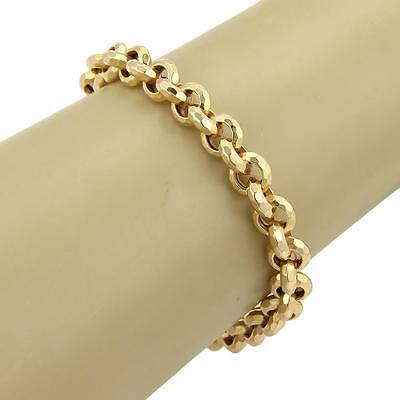 """Hand Hammered Rolo Link Chain 14k Yellow Gold Bracelet - 8 1/4"""""""
