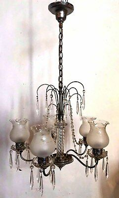vintage five light crystal chandelier with shades