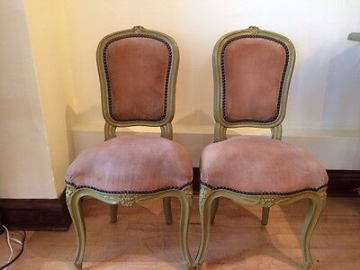 Pair Of Antique Painted Petite French Chairs