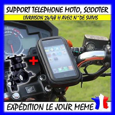 support telephone Housse etui etanche support GPS moto velo scooter guidon