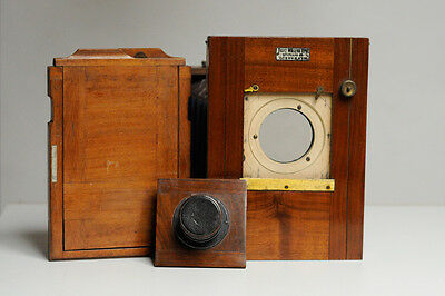 historical Budtz Müller wooden camera with lens carl zeiss jena protar 196 mm
