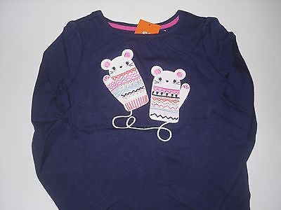 NWT Girls Gymboree Fair Isle Furry Navy Mouse Mittens L/s T Shirt Top 5T 5 New