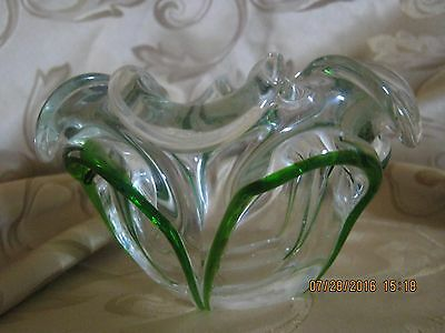 Heavy Clear Glass with Green Trim Accent Dish