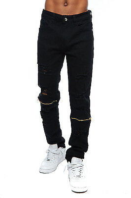 Mens Ripped Slim Fit Distressed Destroyed Zipper Jeans Pants W/ Holes HWP255