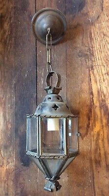 Octagonal Vintage Pendant Light Fixture with Glass