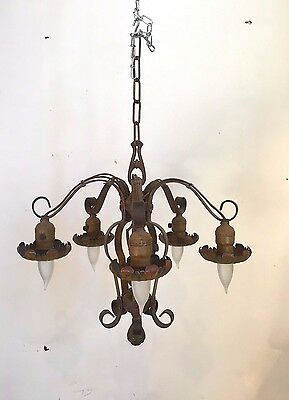 antique 5-arm iron chandelier with flowers