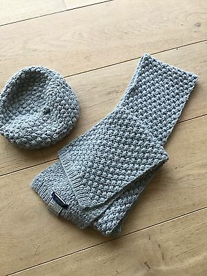Boden -gorgeous Knitted Grey Beret Style Hat And Glove Set