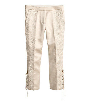H&M CONSCIOUS EXCLUSIVE Collection Silk Embroidered Beads Trousers Pants EUR 36