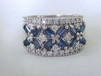EFFY BH 14K WHITE GOLD BLUE SAPPHIRE and DIAMOND COCKTAIL RING BAND !!
