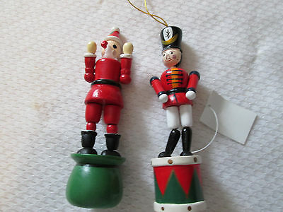 2 Vintage Nutcracker Wooden Soldier on Drum --Clown on Tub --Fold Down