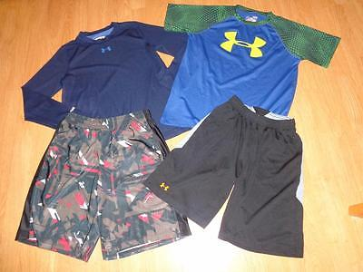 Under Armour Boys Lot Clothes Size Ylg 14/16 Graphic Shorts, Reversible Shirt