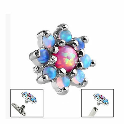 SURGICAL STEEL 8-Point Opal Flower Dermal Anchor Attachment - FREE UK Delivery!