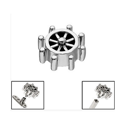 SURGICAL STEEL Nautical Wheel Dermal Anchor Attachment - FREE UK Delivery!