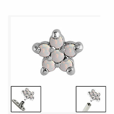 SURGICAL STEEL 5-Point Opal Flower Dermal Anchor Attachment - FREE UK Delivery!