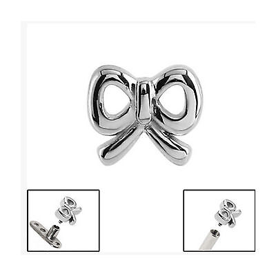 SURGICAL STEEL Cute Bow Dermal Anchor Top - FREE UK Delivery!