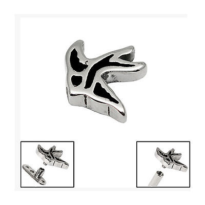 SURGICAL STEEL Flying Swallow Dermal Anchor Attachment - FREE UK Delivery!
