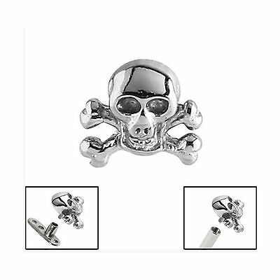 SURGICAL STEEL Skull and Crossbones Dermal Anchor Attachment - FREE UK Delivery!
