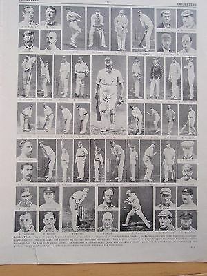 CRICKETERS old vintage retro print CRICKET PLAYERS inc WG GRACE