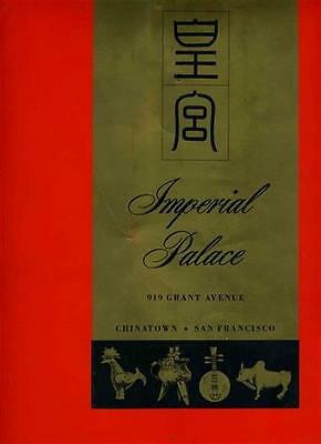 Imperial Palace Chinese Restaurant Menu Grant Ave San Francisco California 1960s