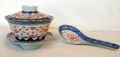 Antique Chinese Porcelain Hand Painted Rice Pattern Set