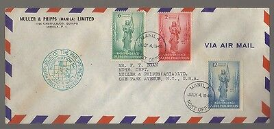9355- Philippines, Independence 4th July 1946 FDC Scott 500-502 -