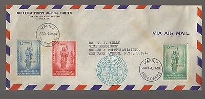 9353- Philippines, Independence 4th July 1946 FDC Scott 500-502 -