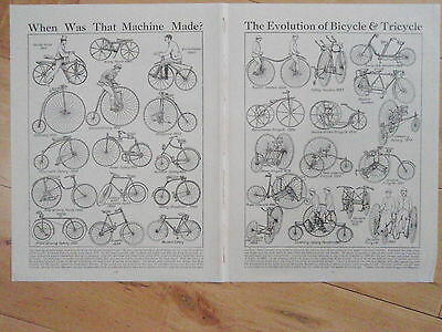 TYPES OF BICYCLE old vintage retro print double page BIKE CYCLE inc TANDEM ROVER