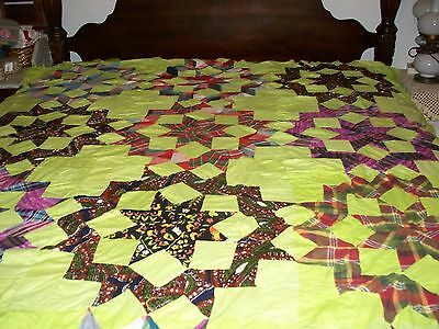 Vintage Quilt Top Star Of Bethleham  Hand Stitched-Machine Stitched 1950's