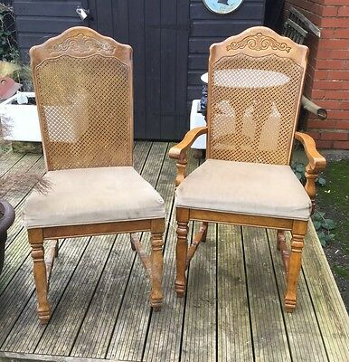 Antique French set of six carved oak caned bergere salon chairs for restoration