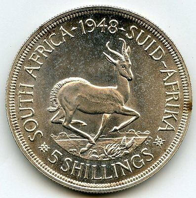 South Africa 1948 Silver Coin - 5 Shillings - Suid Afrika - AJ694