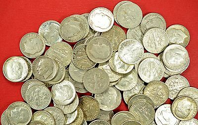 Lot Of 10 Pre-1964 Roosevelt Dimes $1 face Value 90% Silver circulated lot #1