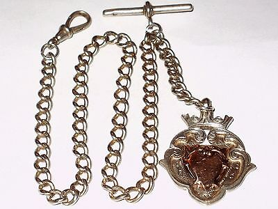 Antique English Sterling Silver Pocket Watch Chain  & Fob,  All Links Stamped