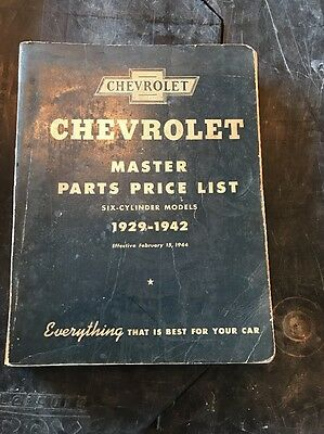 Vintage  Parts Price List Manual 1929-47 Chevrolet 6 Cyl