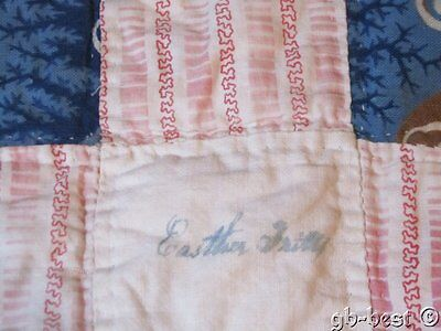 SIGNED Easther Fritty Antique c 1840/50s Album Quilt PIECE frame #10