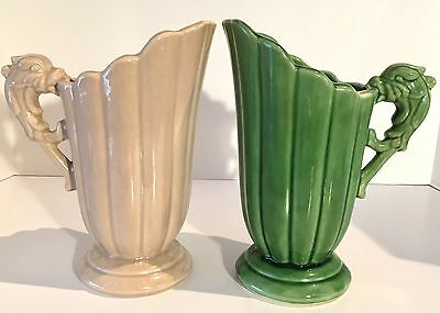 Shawnee Pottery, Dolphin-Handled Pitchers, Set of 2, Green and Tan, c., 1940's