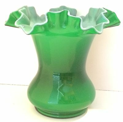 Fenton Glass Vase with Ivy Green Overlay, Double Crimped/Ruffled Top, 1949-1952