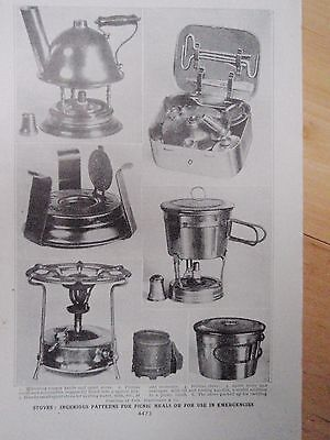 TYPES OF CAMPING STOVE old vintage retro print 1920s PRIMUS SPIRIT KETTLE