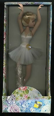 "Vintage Consortium Ballerina Doll Display Blonde w White Tutu NRFB about 9"" Tall"
