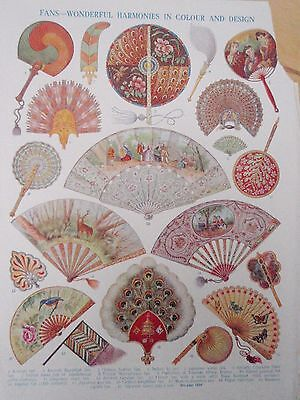 Types of FAN old vintage retro print inc Chinese feather Indian Italian French