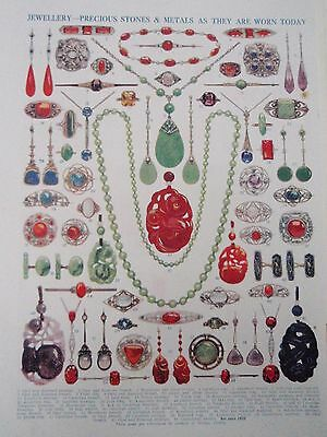 Types of JEWELLERY old vintage retro print RING EARRING BROOCH PRECIOUS STONES