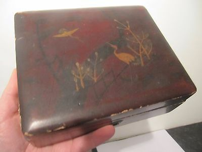 Japanese Lacquer Crane Bird Jewellery Trinket Box