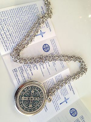 """St Benedict Exorcism Medal 1 1/2"""" With 24""""Chain/Gift Box 6Languages/San Benito"""