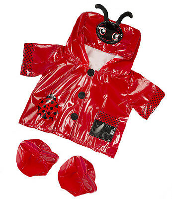 """Red Ladybug Ladybird Raincoat Boots Outfit clothes fit 15"""" build a bear plush"""