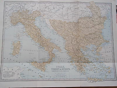 Victorian antique MAP OF ITALY TURKEY & EUROPE old vintage retro print 1890s