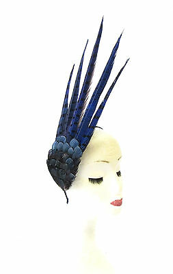 Navy Blue Pheasant Feather Statement Fascinator Races Headpiece Headband 1964
