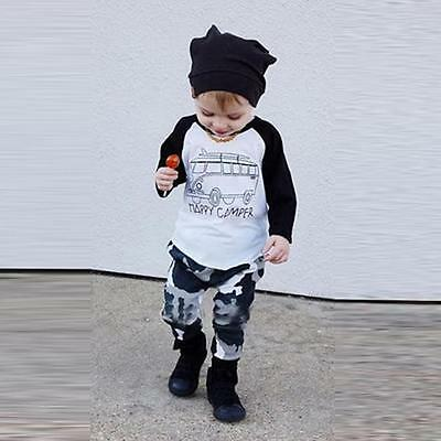 1Set Infant Toddler Baby Boy Long Sleeve Print T-shirt Tops+Pants Outfit Clothes
